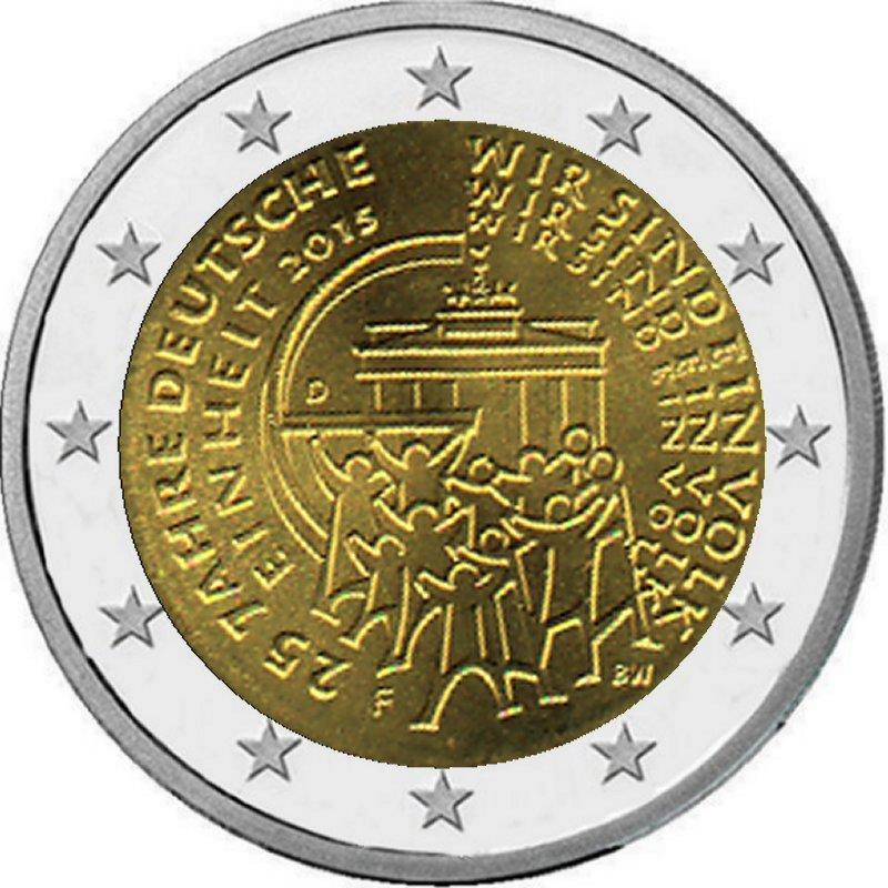 2 Euro Münze 25 Jahre Deutsche Einheit 2015 Ausreise Info